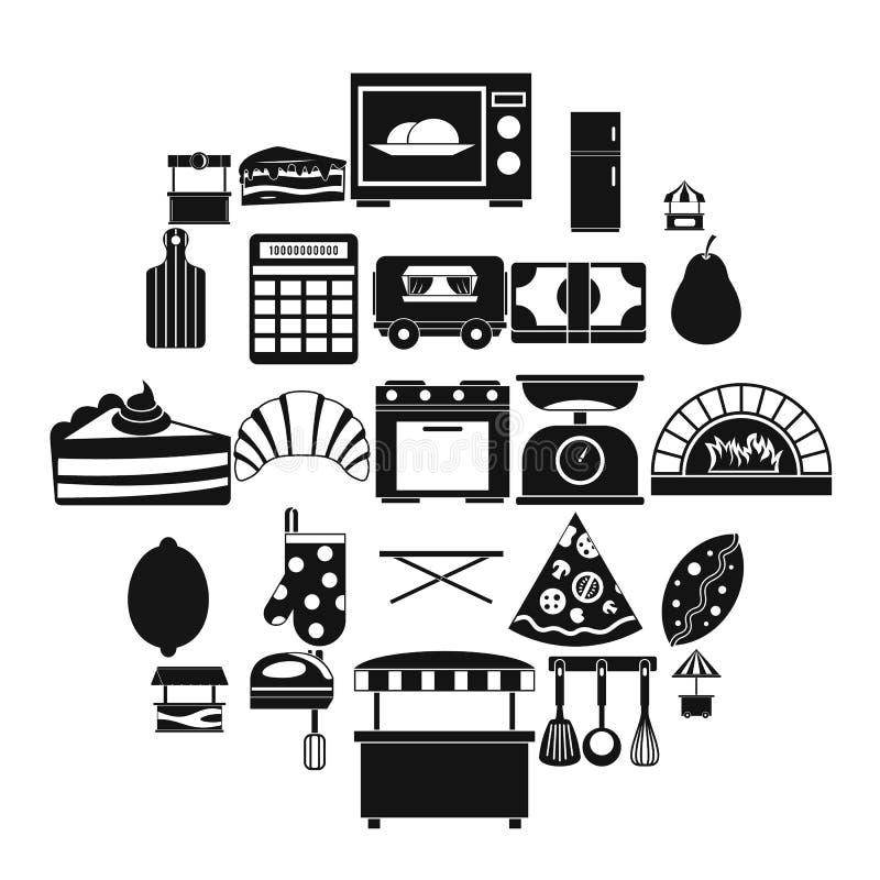 La tienda con los iconos de los bollos fijó, estilo simple ilustración del vector