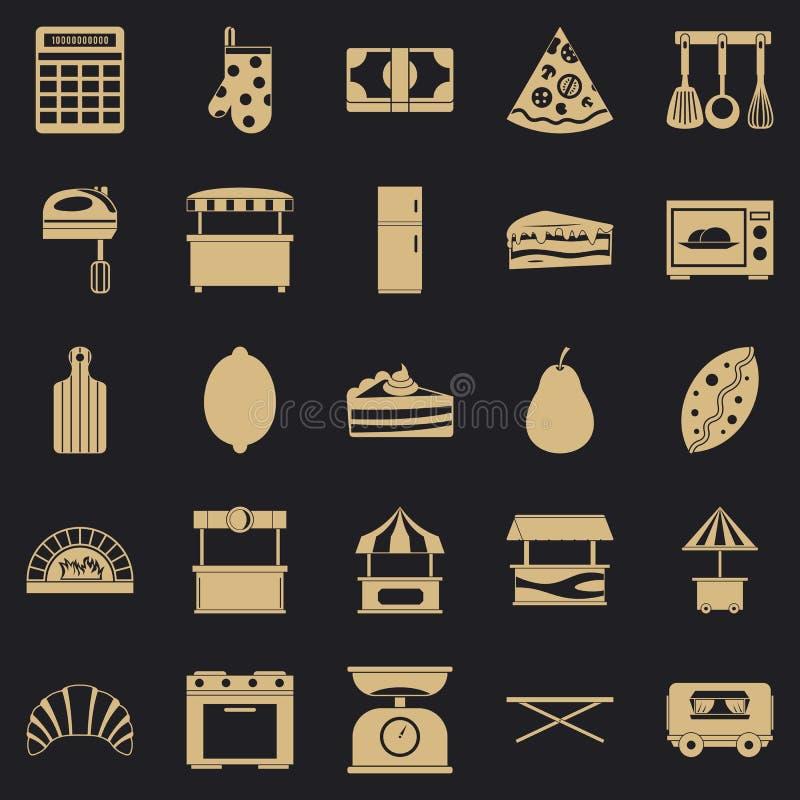 La tienda con los iconos de los bollos fijó, estilo simple stock de ilustración