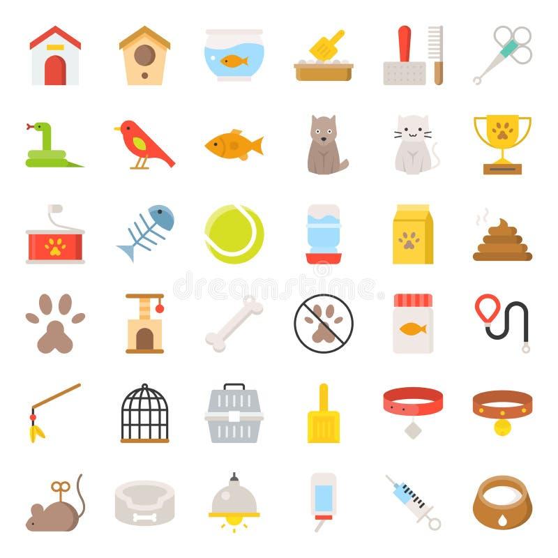 La tienda de animales se relacionaron y el vector plano del icono del símbolo ilustración del vector
