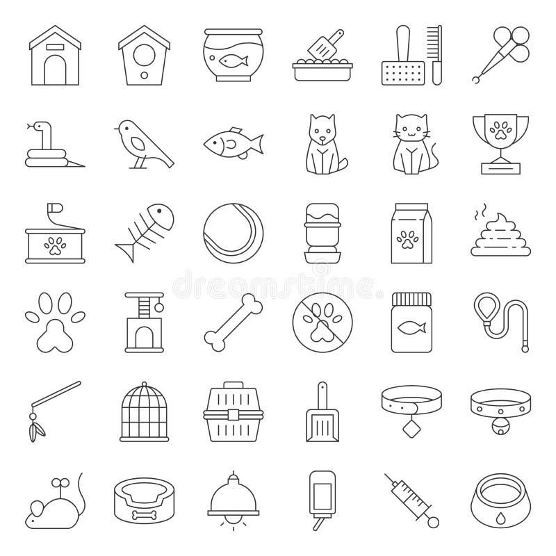 La tienda de animales se relacionaron y la línea fina vector del símbolo del icono stock de ilustración