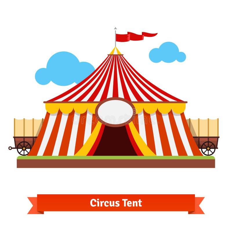 La tienda de circo abierta con el carro rueda adentro la parte posterior ilustración del vector