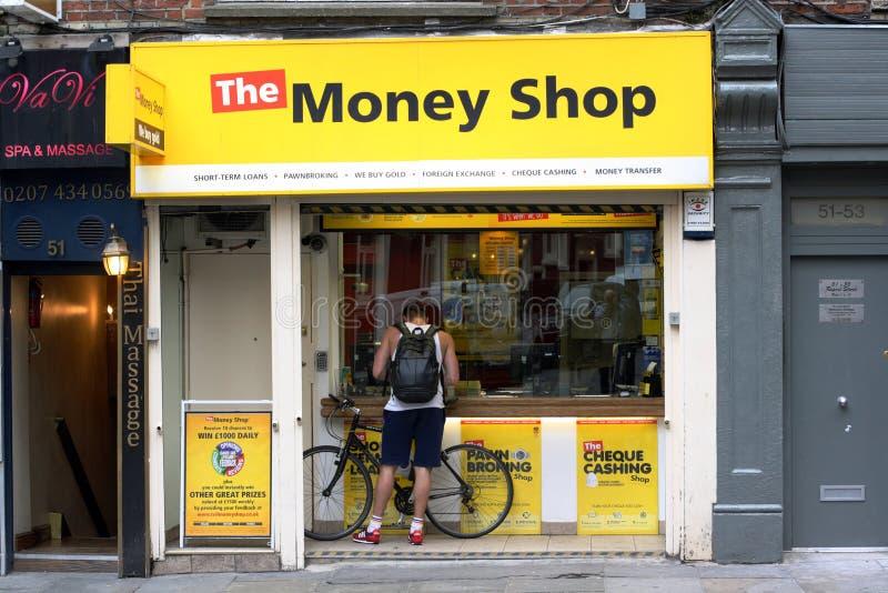 La tienda de dinero - Soho, Londres fotografía de archivo libre de regalías