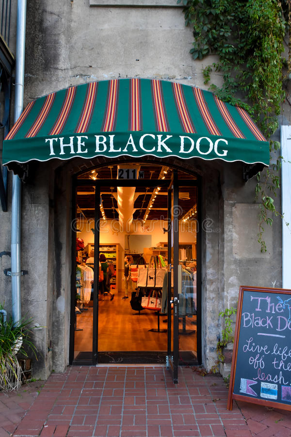 La tienda del perro negro, sabana, GA foto de archivo