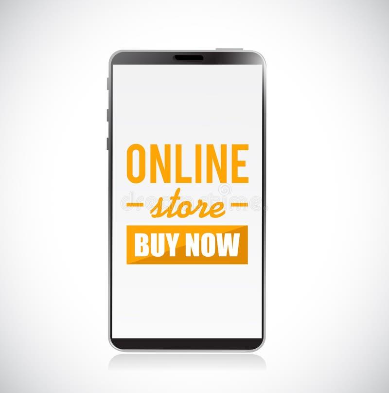 La tienda en línea ahora compra la muestra en un ejemplo del concepto del teléfono móvil libre illustration