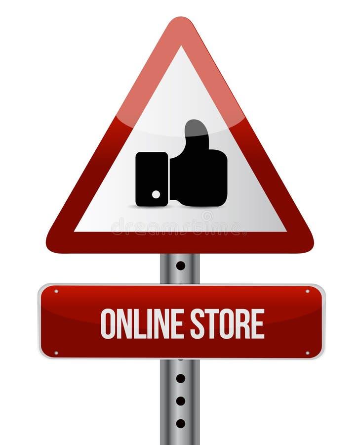 la tienda en línea le gusta concepto de la señal de tráfico ilustración del vector