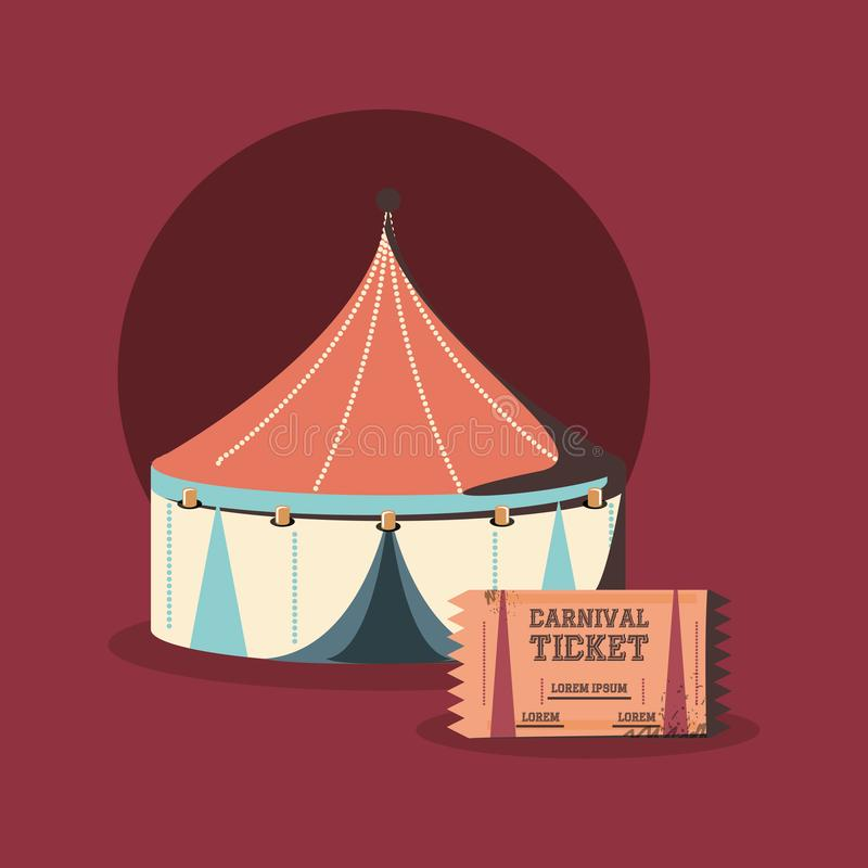 La tienda y el boleto de circo del carnaval muestran retro stock de ilustración