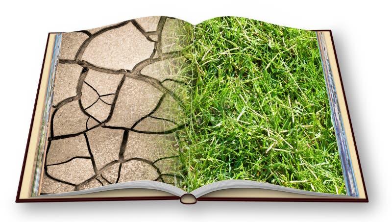 La tierra agrietada y el prado verde - imagen del concepto del cambio de clima - 3D rinden imagen del concepto de un libro abiert fotos de archivo libres de regalías