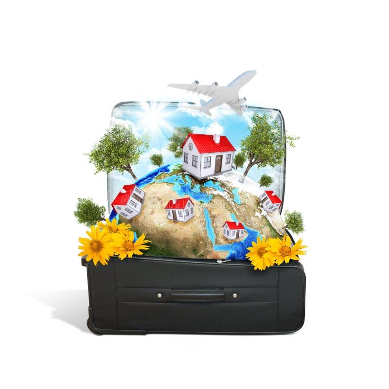 Download La Tierra Con Las Casas Y Los árboles En Viaje Empaquetan Stock de ilustración - Ilustración de aire, vuelo: 42441040