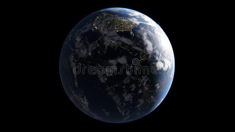 La tierra con las nubes iluminadas por Sun en uno lateral, en el lado de la noche de luces de ciudades, América viene por la maña ilustración del vector