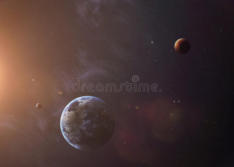 La tierra con Marte tiró del espacio que mostraba todos imagen de archivo