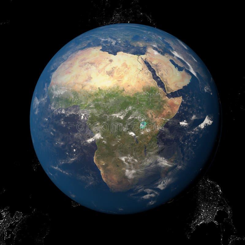La tierra del espacio que muestra África 3d rinde el ejemplo Otras orientaciones disponibles ilustración del vector