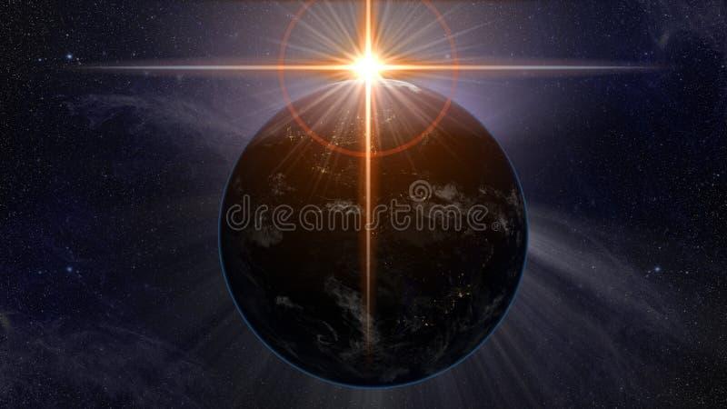 La tierra del planeta donde el sol forma una llamarada cruzada de oro mística ilustración del vector