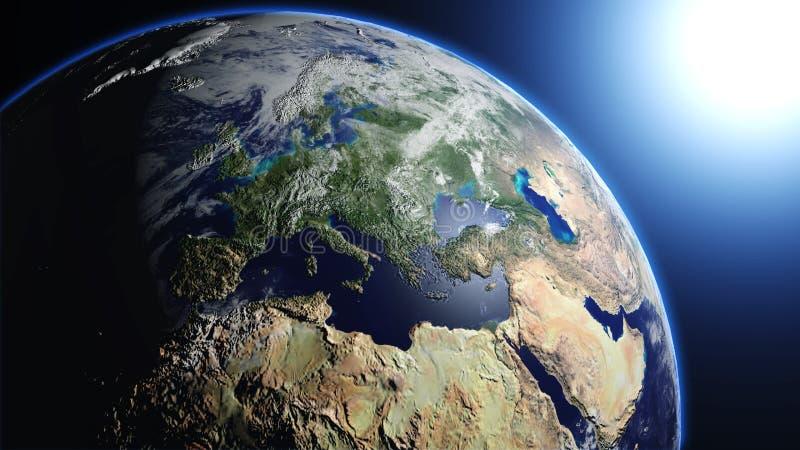La tierra del planeta en universo o espacio, la tierra y la galaxia en una nebulosa se nubla ilustración del vector