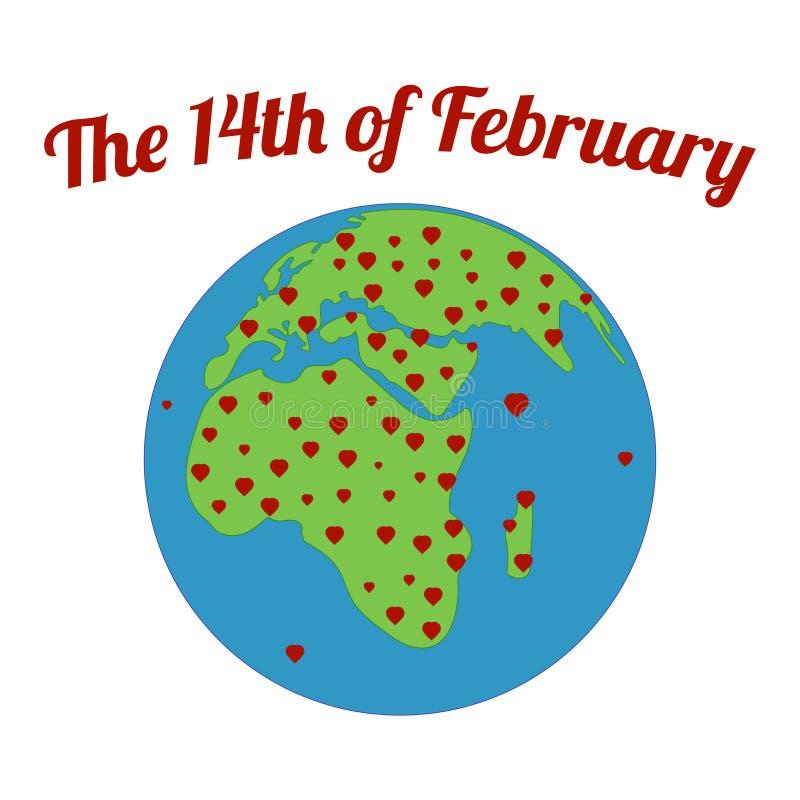 La tierra del planeta es llena de amor no sólo para las tarjetas del amor de día de San Valentín en todo el mundo stock de ilustración
