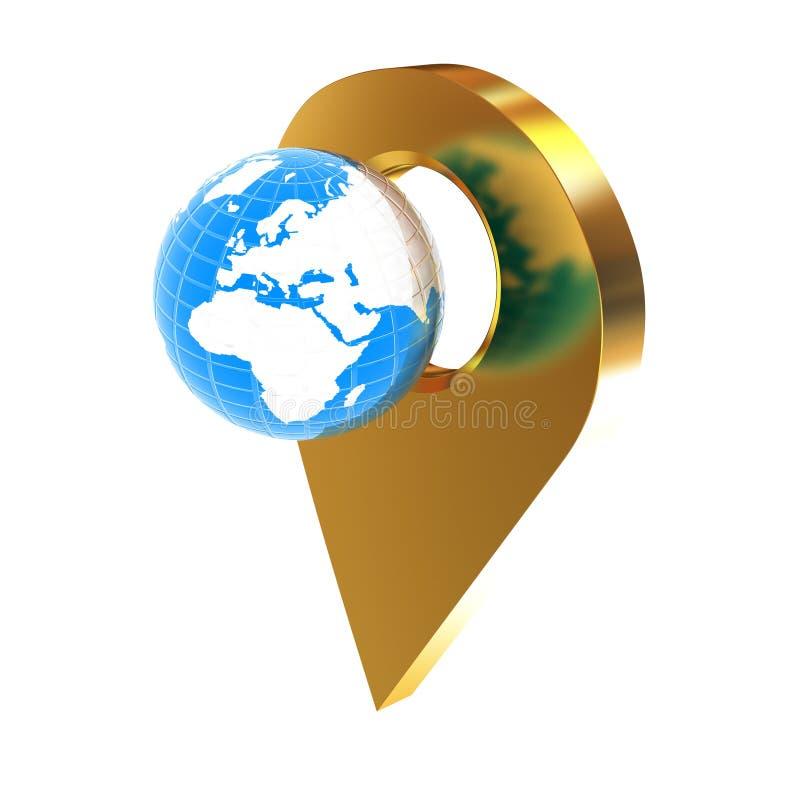 La tierra del planeta y el mapa de oro fija el icono en la tierra ilustración 3D ilustración del vector