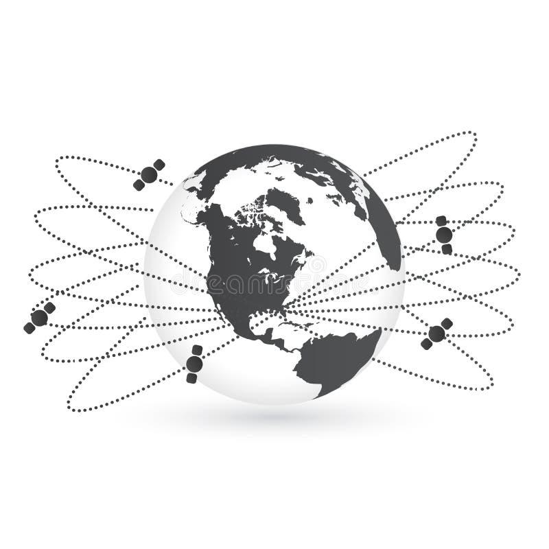 La tierra del planeta y el satélite redondo está en órbita el ejemplo del vector Espacie los satélites que vuelan alrededor del d stock de ilustración