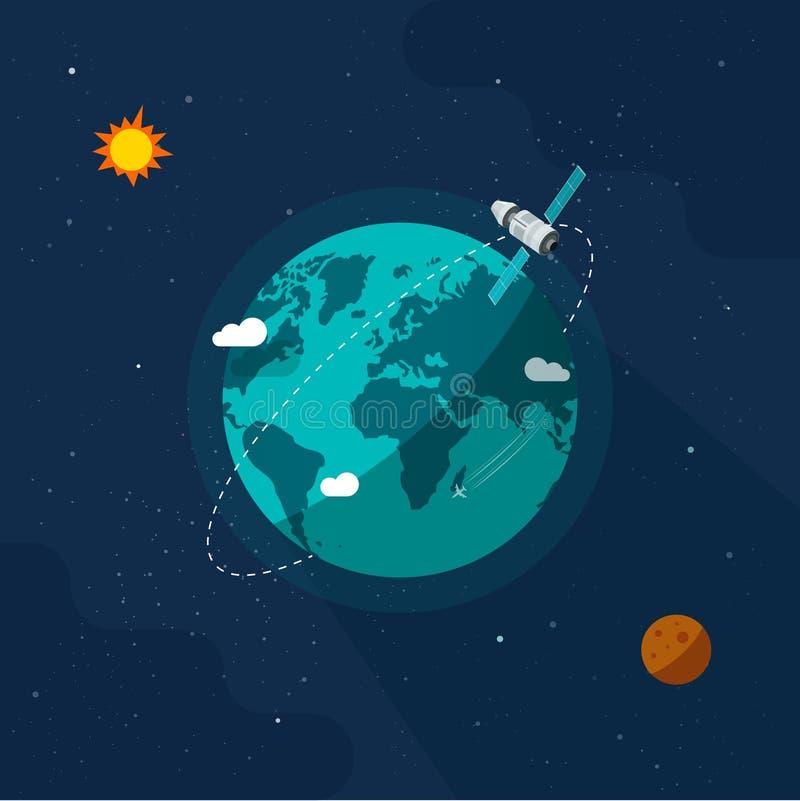 La Tierra en el espacio ultraterrestre ilustración de vectores, nave espacial satelital cartográfica plana que vuela por todo el stock de ilustración