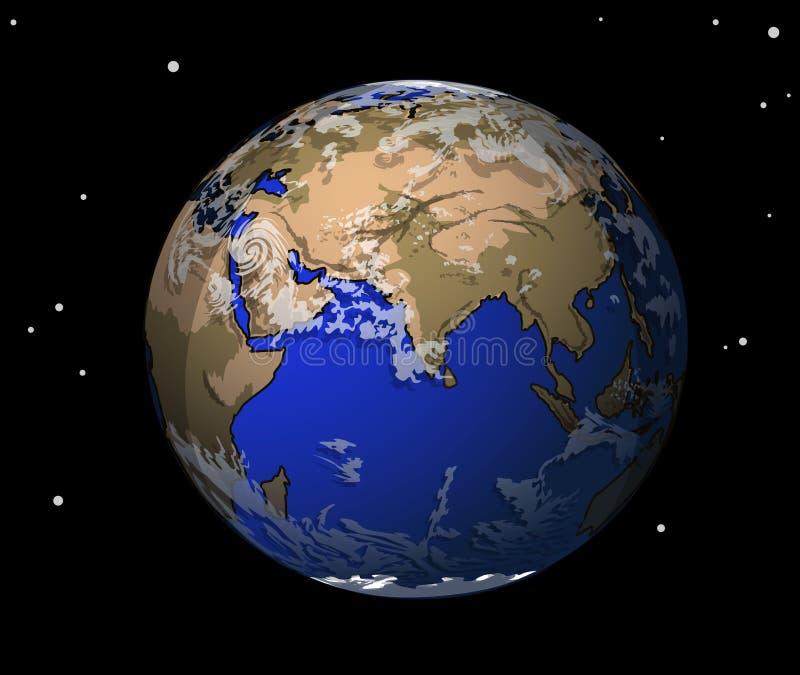 La tierra en espacio stock de ilustración