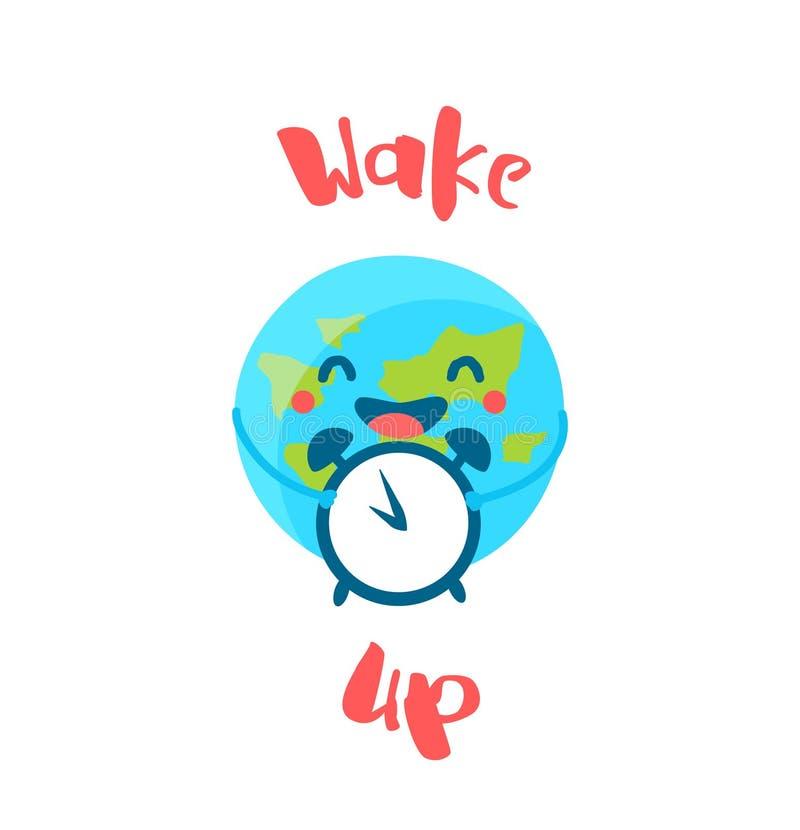La tierra linda sostiene el despertador en el fondo blanco Despierte el cartel Estilo plano Tarjeta del vector ilustración del vector