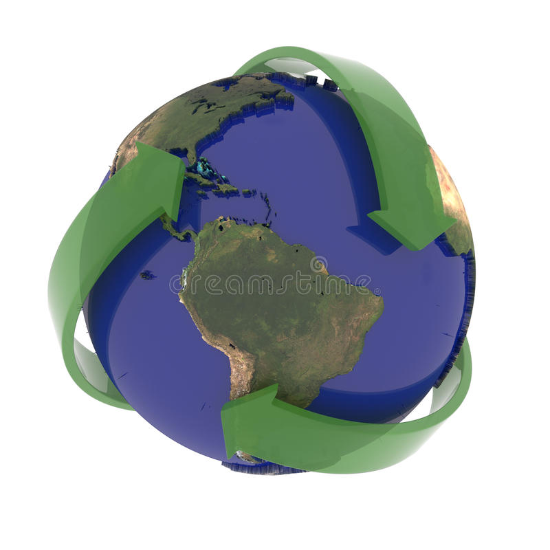 La tierra recicla la muestra ilustración del vector
