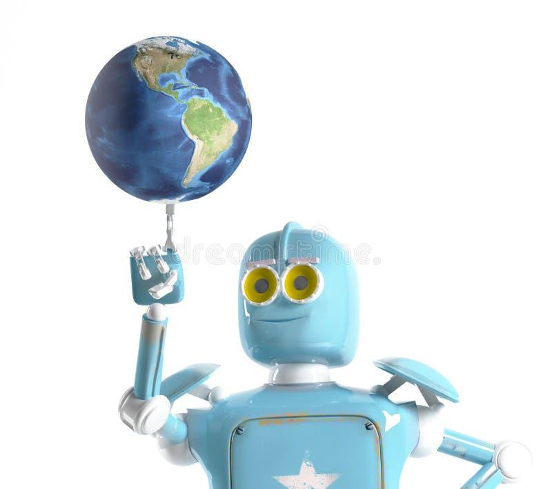 La tierra retra del control del robot, 3d rinde ilustración del vector