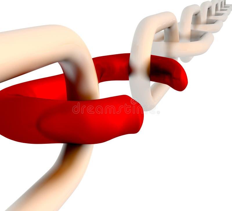 La tige cassée rouge affiche l'insécurité et la déconnexion illustration libre de droits
