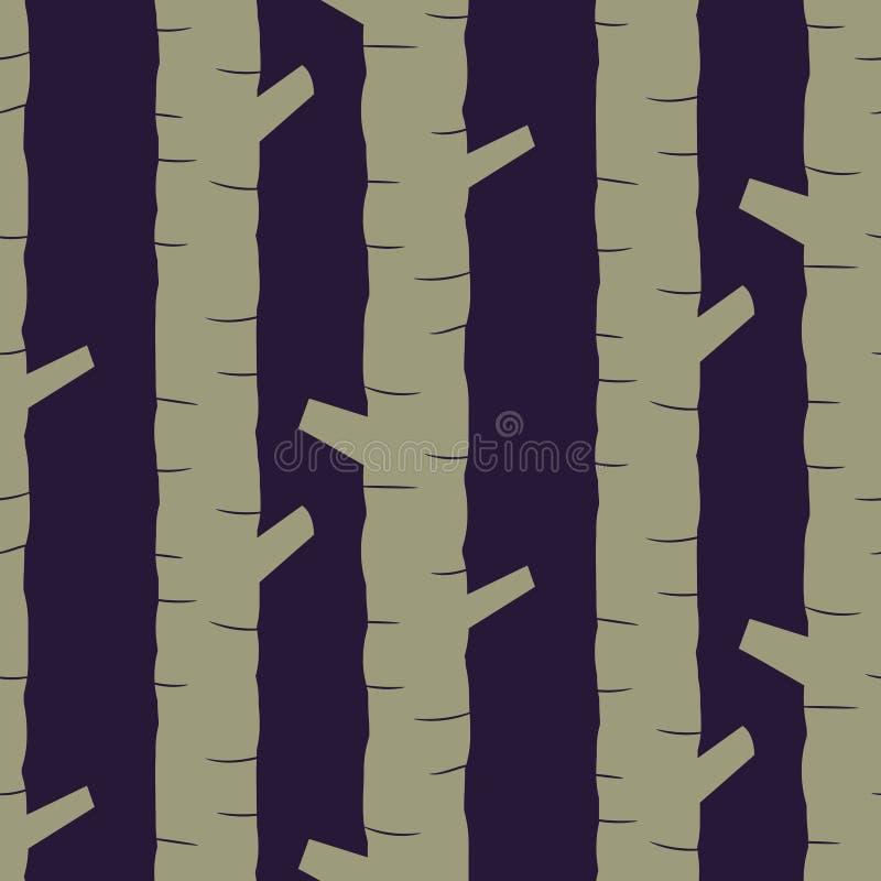 La tige kaki d'arbre silhouette le modèle sans couture de vecteur illustration libre de droits
