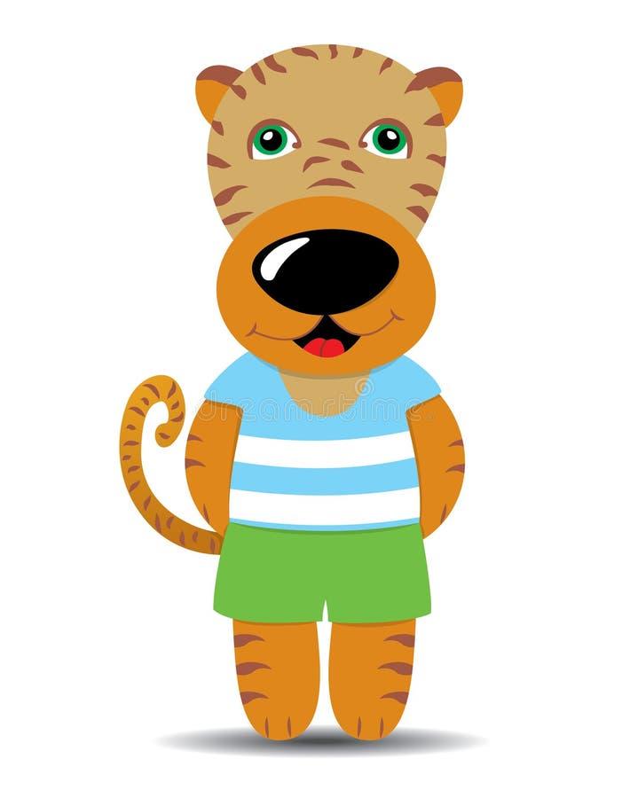 La tigre sveglia del fumetto si è vestita in una maglietta e negli shorts illustrazione vettoriale