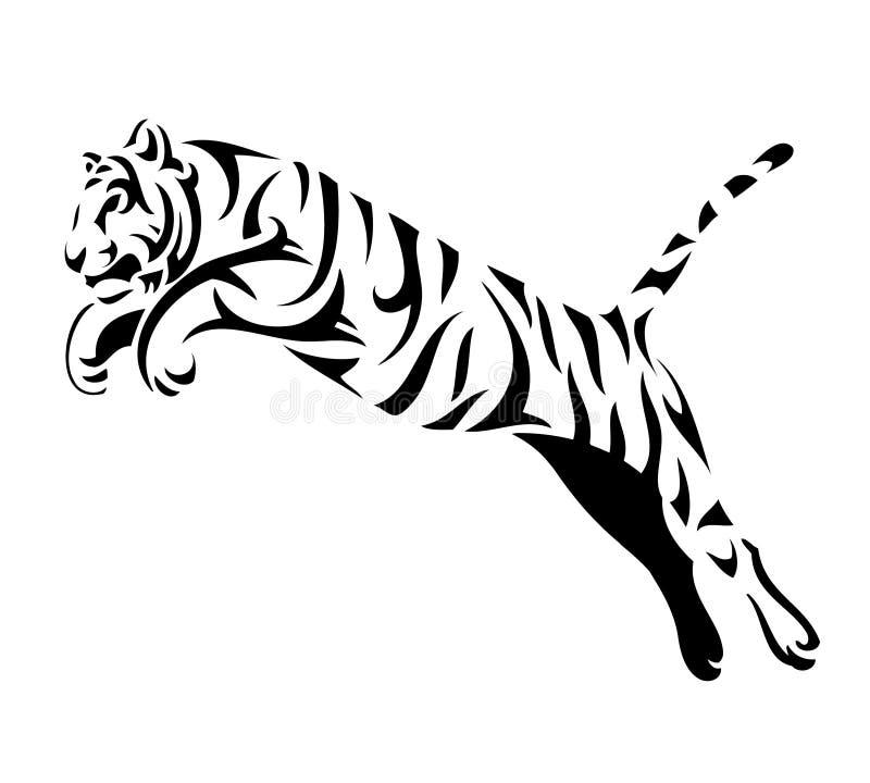 La tigre tribale salta illustrazione vettoriale