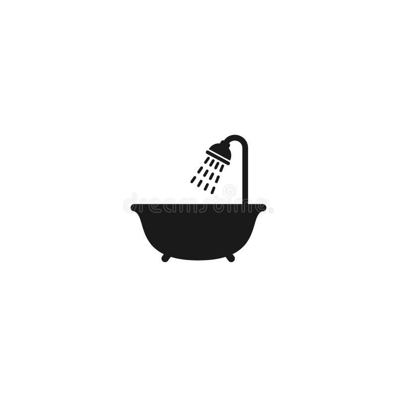 La Cabezal De Ducha Con Agua Cae El Icono Del Vector Ilustracion