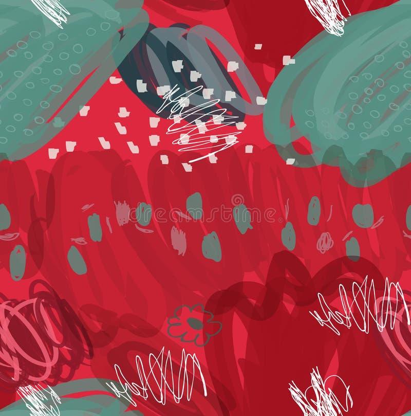 La tinta abstracta del marcador frota ligeramente y puntea verde rojo stock de ilustración