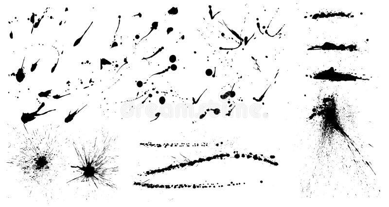 La tinta aislada salpica y cae ilustración del vector