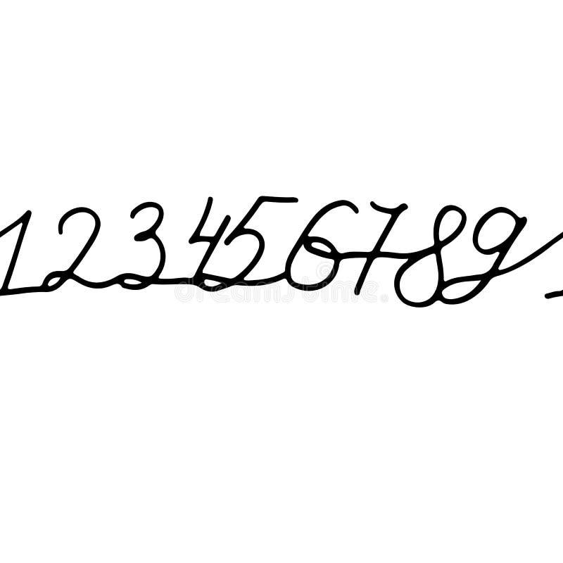 La tinta caligráfica inconsútil numera el ornamento Ilustración del vector ilustración del vector