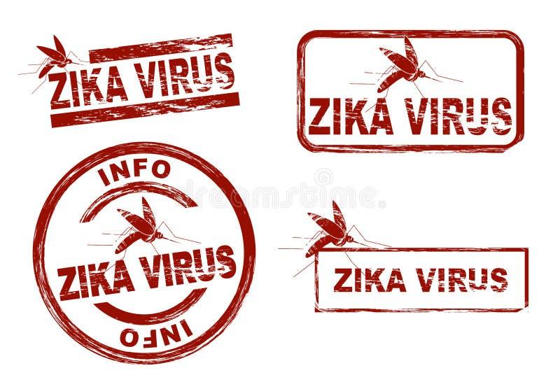 La tinta estilizada sella mostrar el virus del zika del término stock de ilustración