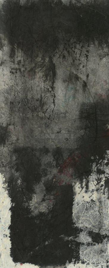 La tinta negra texturiza la pintura abstracta stock de ilustración