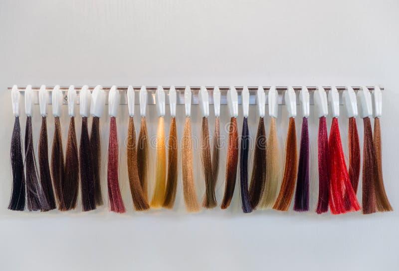 La tintura per capelli incaglia l'apprettatrice dei capelli dei campioni immagine stock libera da diritti