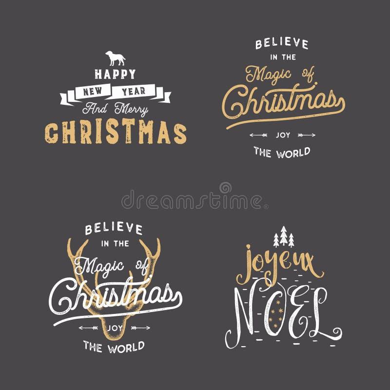 La tipografía de la Feliz Navidad cita, los deseos fijados Resplandores solares, cinta y elementos del noel de Navidad, iconos Le ilustración del vector
