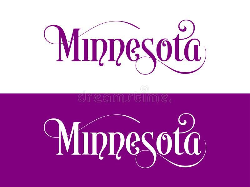 La tipografía De los E.E.U.U. Minnesota indica el ejemplo manuscrito en el funcionario U S Colores del estado ilustración del vector