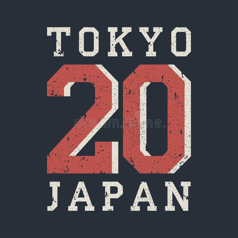 La tipografía de Tokio, Japón para el diseño viste, camiseta Sello para la ropa atlética del número Ilustración del vector ilustración del vector
