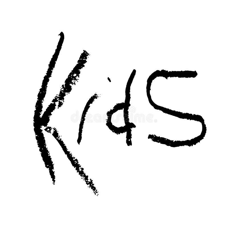 La tipografía exhausta del niño de la mano del vector para los niños aporrea el logotipo, acontecimiento infantil, cartel del gru stock de ilustración