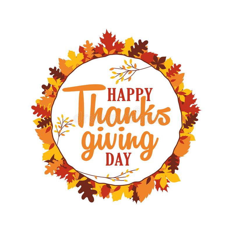 La tipografía feliz del día de la acción de gracias con caída del otoño deja el marco del ornamento Logotipo, insignia, etiqueta  libre illustration