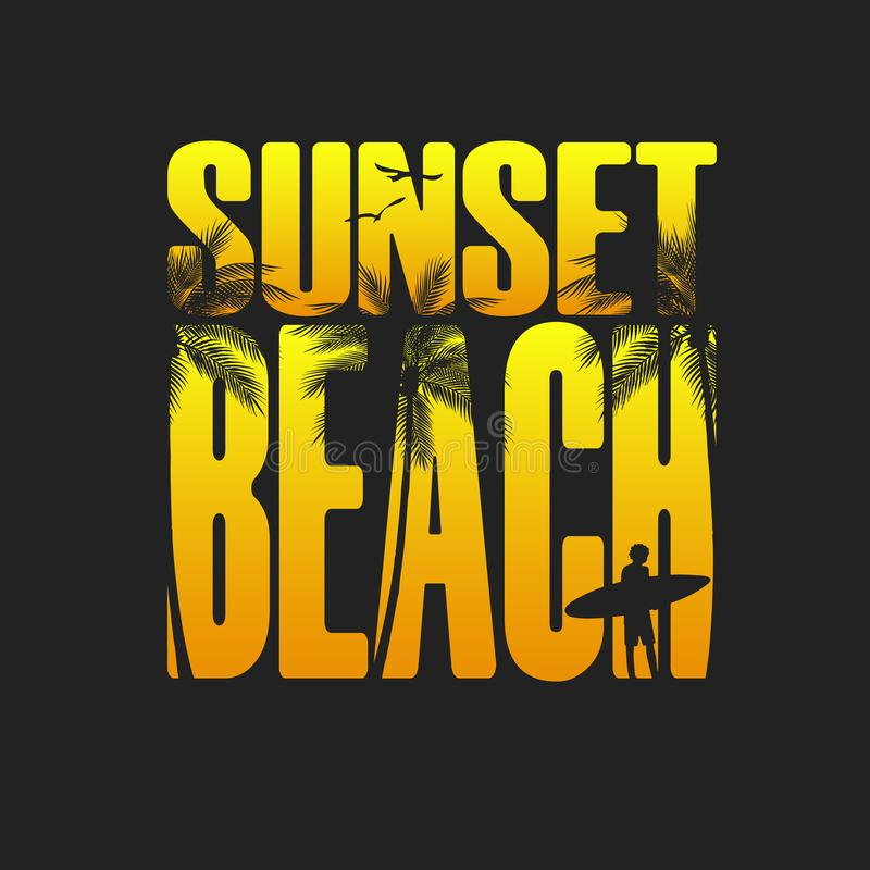 La tipografia della spiaggia del tramonto dell'estate, il grafico della maglietta, slogan, ha stampato la progettazione Stampa de royalty illustrazione gratis