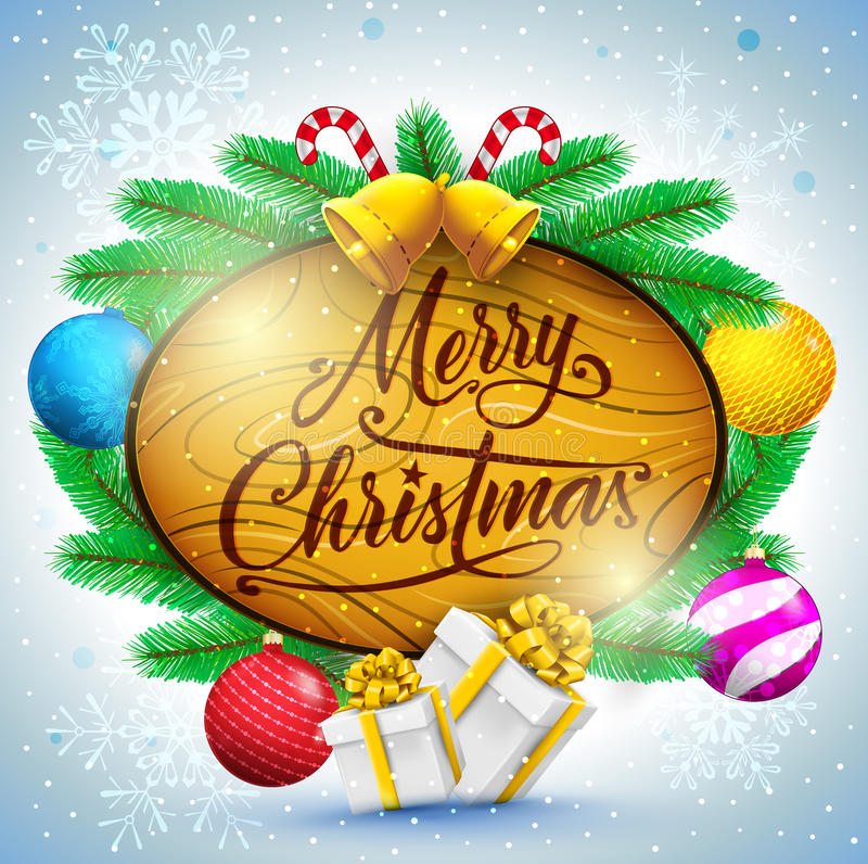 La tipografia di Buon Natale nel segno di legno con le palle di Natale ed i regali Vector l'illustrazione royalty illustrazione gratis