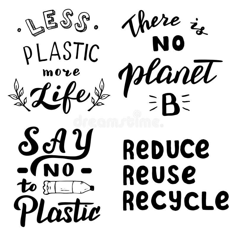 La tipografia di motivazione dell'ecologia cita l'insieme Conservi il pianeta, non dica non al concetto residuo di plastica e zer illustrazione vettoriale