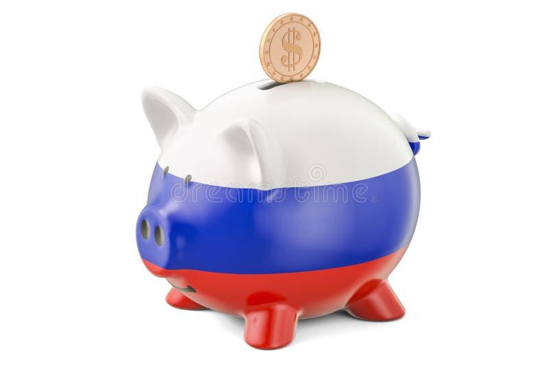 La tirelire avec le drapeau de la Russie et le dollar d'or inventent Investmen illustration de vecteur