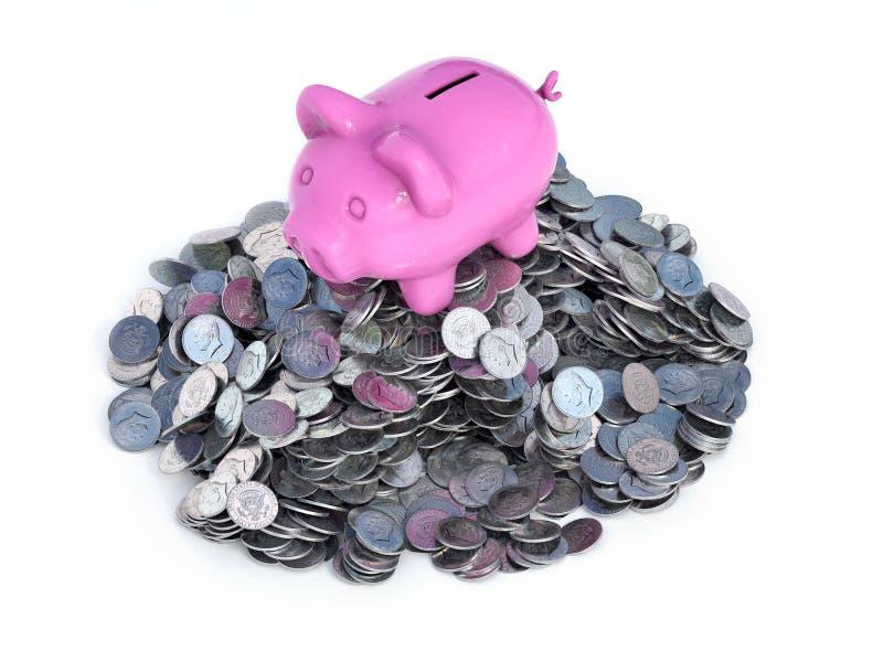 La tirelire rose, brillant en céramique, sur la pile de 50 pièces de monnaie des Etats-Unis de cents, d'isolement sur blanc, 3d r illustration libre de droits