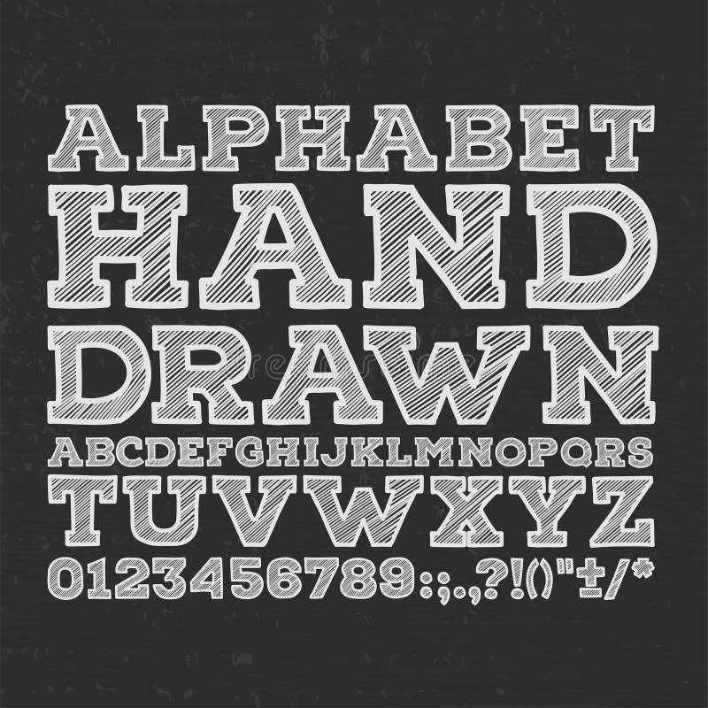 La tiza bosquejó la fuente de vector rayada del ABC del alfabeto ilustración del vector