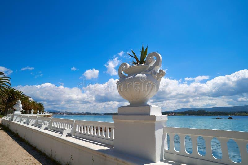 La Toja island Toxa beach flower pot in Pontevedra. Galicia Spain royalty free stock images