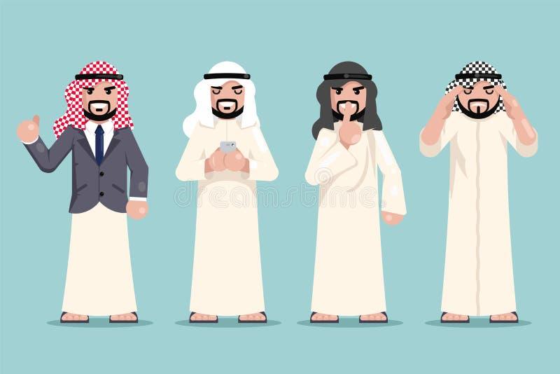 La toma de decisión de trabajo de las finanzas árabes del hombre de negocios fijó vector plano del diseño de la ropa musulmán étn stock de ilustración