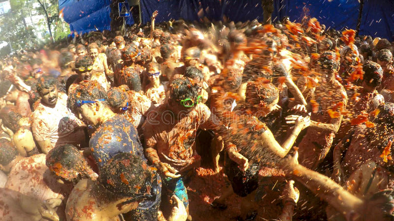 La Tomatina Festival in Bunol, Spain 2015 royalty free stock photo